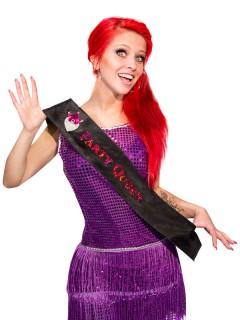 Schärpe Party-Queen Junggesellinnenabschied schwarz-rosa