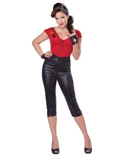 50er Jahre Rockabilly Damenkostüm rot-schwarz