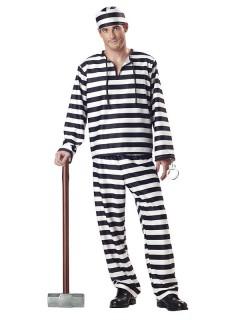 Sträfling Kostüm Verbrecher schwarz-weiss
