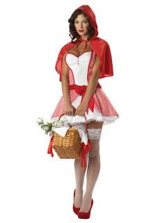 Sexy Rotkäppchen Damenkostüm Märchen rot-weiss