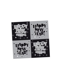 Happy New Year Servietten Silvester Party-Deko schwarz-silber