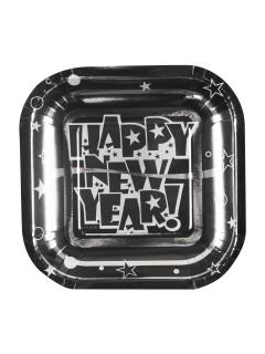 Pappteller Happy New Year Silvester Party-Deko 8 Stück braun-schwarz-silber 19x19cm