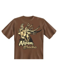 T-Shirt Alpen Macho Funshirt braun