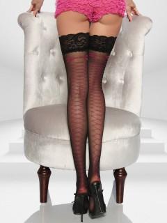 Burlesque Overknees mit Spitze schwarz-pink
