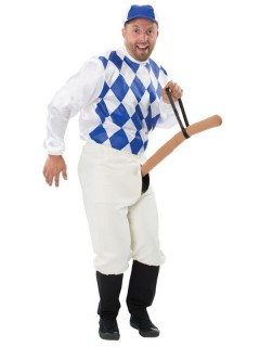 Wilder Jockey Penis Reiter Herrenkostüm weiss-blau-hautfarben