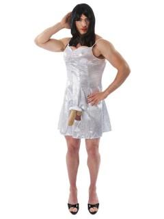 Mann im Kleid JGA-Kostüm Männerballett weiss-beige