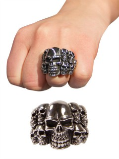 Gothic Metal Ring Totenschädel silber