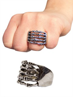 Gothic Metal Ring Skeletthand silber