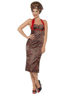 50er Rockabilly Damenkostüm schwarz-rot