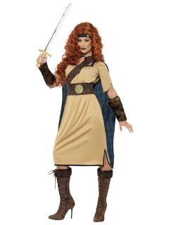 Mittelalter Kriegerin Damenkostüm beige-braun