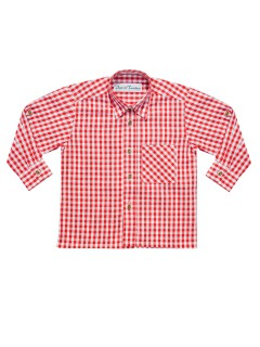 Kinder Trachten Karo-Hemd langarm rot-weiss
