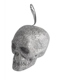 Glitzer Totenkopf Halloween Hängedeko silber