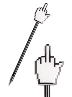 Mittelfinger-Bleistift Scherzartikel schwarz-weiss 27cm