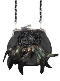 Alpenflüstern Satin Tasche mit Rosen und Federn schwarz