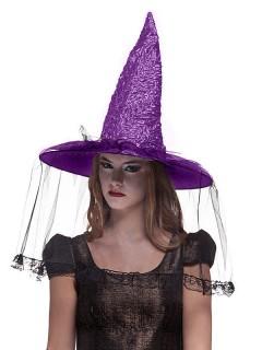 Halloween Hexenhut mit Schleier schwarz-lila