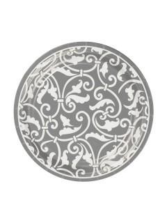 Ornament Pappteller Party-Deko 8 Stück silber-weiss 18cm