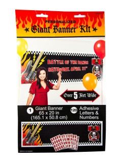 Rock on XXL Banner mit Buchstaben Party-Deko bunt 165x51cm