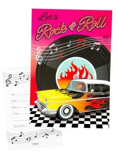 Rock n Roll Einladungskarten Party-Zubehör 8 Stück bunt 11x16cm