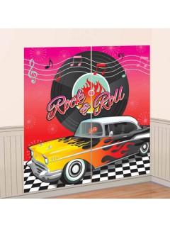RocknRoll Raumdeko Wandfolie 50er-Jahre Party-Deko bunt 165x82cm