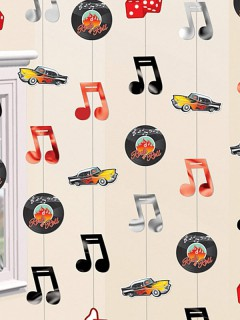 RocknRoll Hänge-Girlanden 50er-Jahre Party-Deko bunt 6 Stück