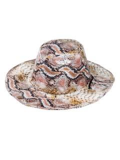 Cowboy Hut Schlangenleder-Optik braun