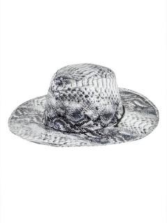 Cowboy Hut Schlangenleder-Optik grau