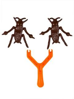 Kakerlaken-Schleuder Scherzartikel 3-teilig orange-braun 8x2cm