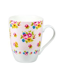 Blumen-Tasse Vintage rosa-bunt 350ml