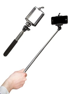 Ausziehbarer Handy-Halter Selfie-Stick schwarz-silber 60 cm