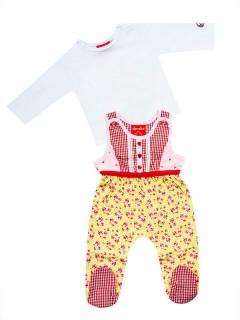 Trachten Baby-Strampler Alpenglück rot-weiss