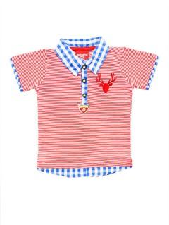 Trachten Kinder Polo-Shirt gestreift rot-weiss-blau