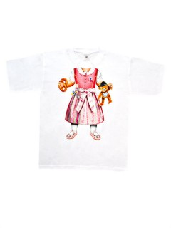 Trachten Kinder T-Shirt Dirndl-Look weiss-bunt
