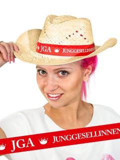 Strohhut Junggesellinnenabschied JGA beige-rot