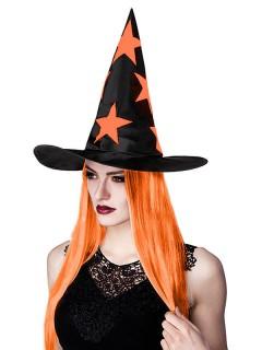 Halloween Hexenhut mit Haaren und Sternen schwarz-orange