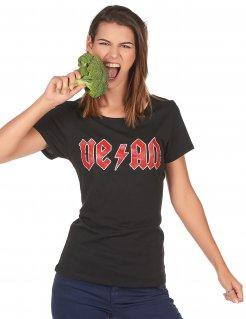 Veganer Damen-Shirt schwarz-rot
