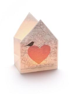 Windlicht Herz Dekoration weiss-rot 12,5x17x8cm