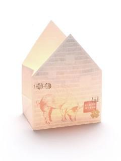 Windlicht Tüte Glücksschwein weiss 12,5x17x8cm