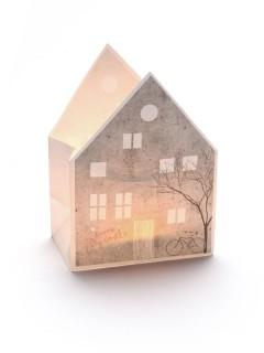 Windlicht Hausfassade weiss-grau 12,5x17x8cm