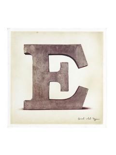Buchstaben-Dekoration  E  Leinwand braun 30x30cm