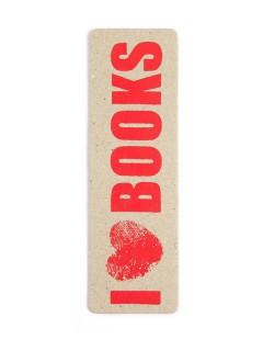 Lesezeichen I love Books handgearbeitet beige-rot 5x16 cm