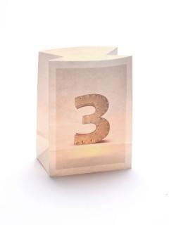 Windlicht Tüte Zahl 3 weiss 12,5x8x17cm