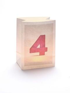 Windlicht Tüte Zahl 4 weiss 12,5x8x17cm