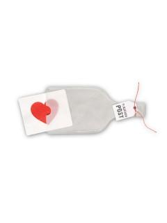 Flaschenpost Herz grau-rot 21x10cm