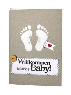 Baby Glückwunsch-Karte Willkommen grau-weiss 12x17cm