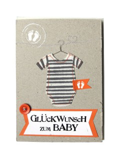 Baby Glückwunsch-Karte Glückwunsch grau-weiss-orange 12x17cm
