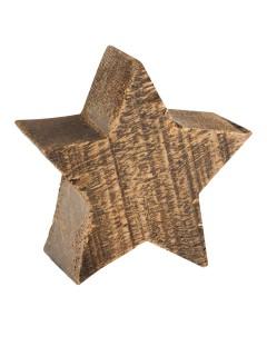 X-Mas Holzstern Weihnachtsdeko braun 10x9x4cm