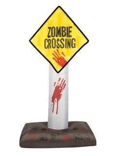 Zombie Crossing Halloween-Deko aufblasbar mit Lichteffekt gelb-rot-schwarz 180cm
