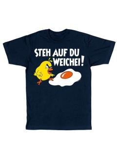 Funshirt Steh auf du Weichei T-Shirt navy-bunt