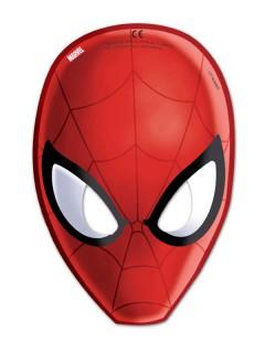 Spiderman Masken Party Accessoire 6 Stück rot-schwarz-weiss 15,5x23cm