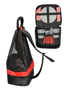 Picknick-Rucksack mit Geschirr und Besteck schwarz-rot 13-teilig